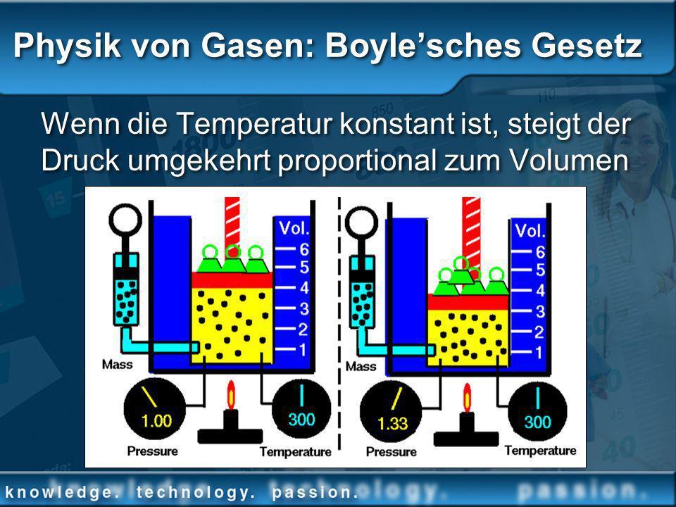 Physik von Gasen: Boylesches Gesetz Wenn die Temperatur konstant ist, steigt der Druck umgekehrt proportional zum Volumen