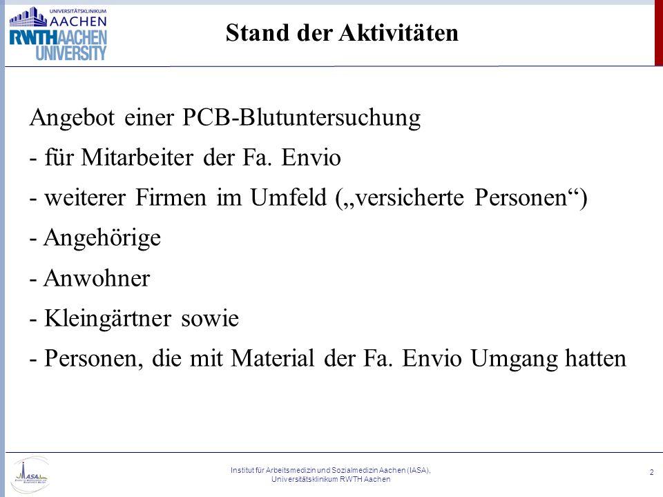Institut für Arbeitsmedizin und Sozialmedizin Aachen (IASA), Universitätsklinikum RWTH Aachen 2 Stand der Aktivitäten Angebot einer PCB-Blutuntersuchu