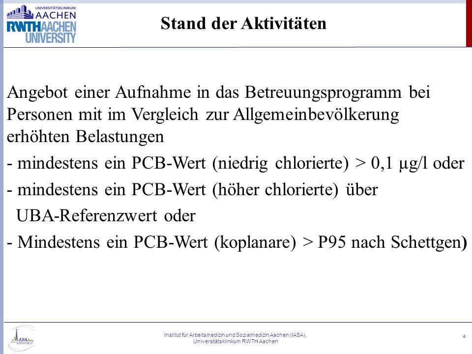 Institut für Arbeitsmedizin und Sozialmedizin Aachen (IASA), Universitätsklinikum RWTH Aachen 4 Stand der Aktivitäten Angebot einer Aufnahme in das Be