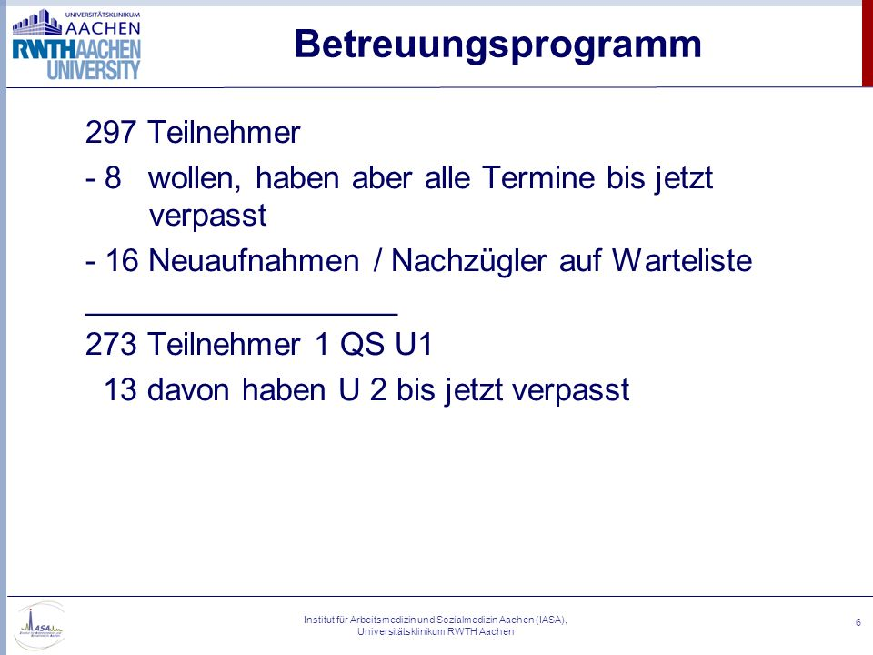 Institut für Arbeitsmedizin und Sozialmedizin Aachen (IASA), Universitätsklinikum RWTH Aachen 6 Betreuungsprogramm 297 Teilnehmer - 8 wollen, haben ab