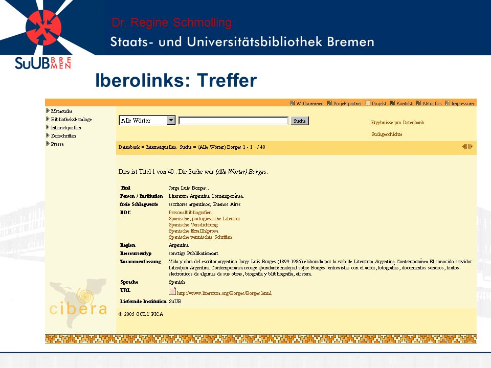 Iberolinks: Treffer Dr. Regine Schmolling