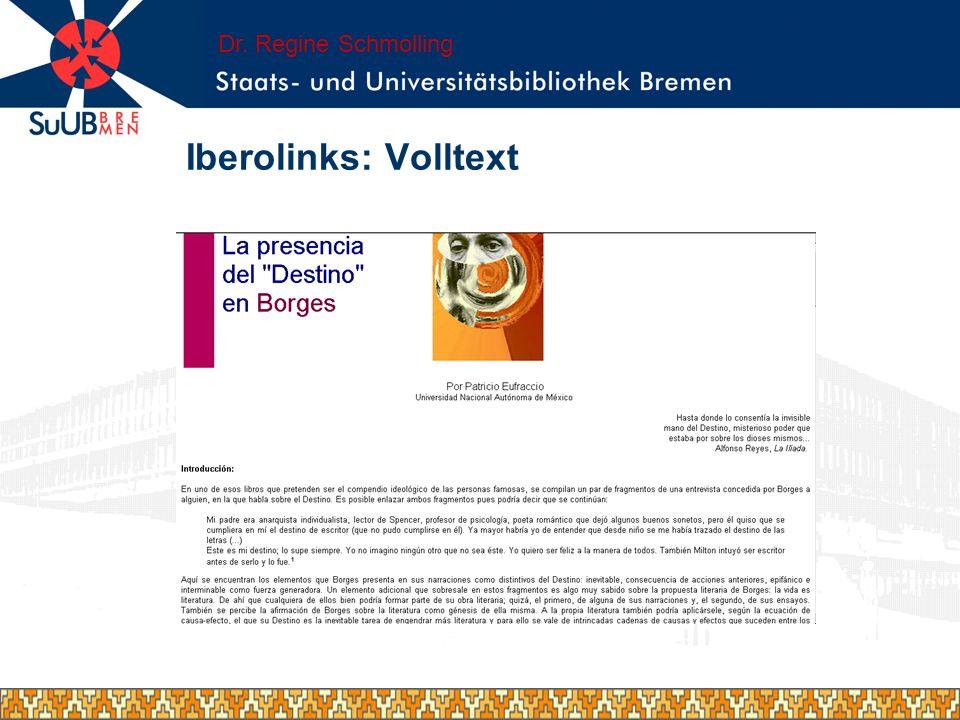 Iberolinks- erweiterte Suche in spanisch Dr. Regine Schmolling