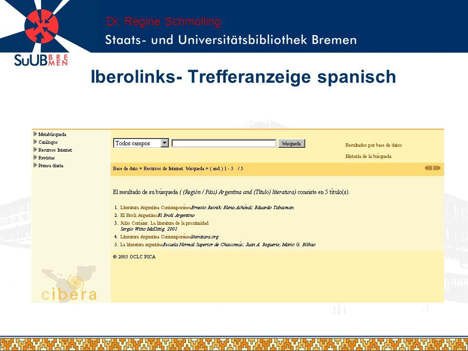Iberolinks- Trefferanzeige spanisch Dr. Regine Schmolling