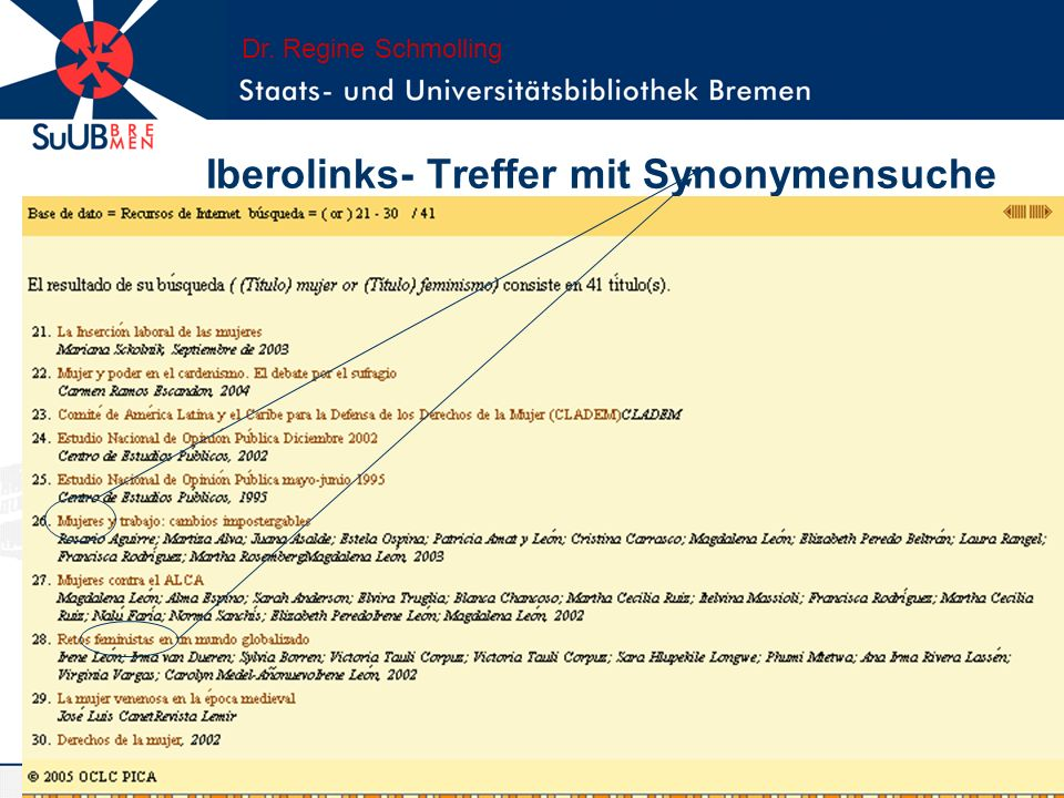 Iberolinks- DDC- Browsing Zur Zeit urheberrechtlich nur in den ersten 1000 Klassen eine parallele Abbildung der Klassen und Klassenbezeich- nungen gestattet.