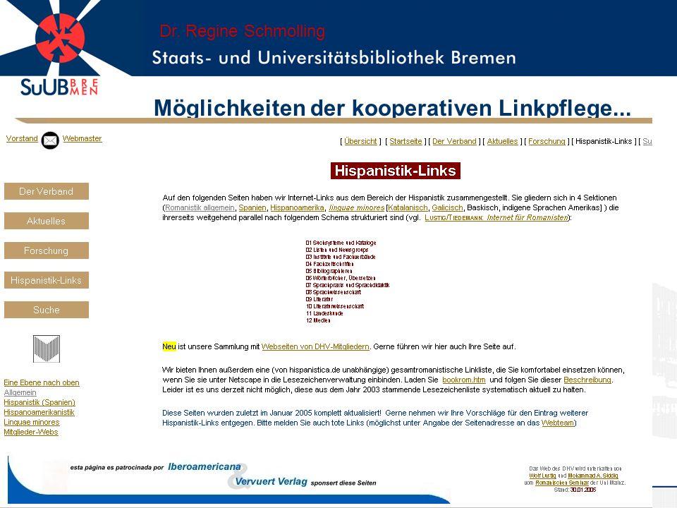 Möglichkeiten der kooperativen Linkpflege... Dr. Regine Schmolling