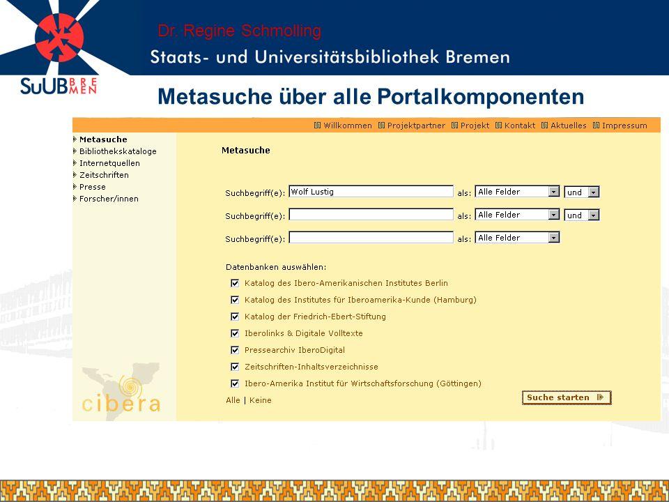 Metasuche über alle Portalkomponenten Dr. Regine Schmolling