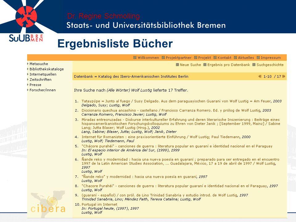 Ergebnisliste digitale Veröffentlichungen Dr. Regine Schmolling