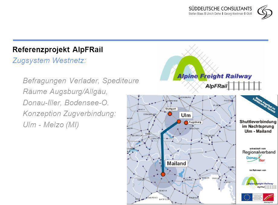 Division Personenverkehr Folie 7 Referenzprojekt AlpFRail Zugsystem Westnetz: Befragungen Verlader, Spediteure Räume Augsburg/Allgäu, Donau-Iller, Bod