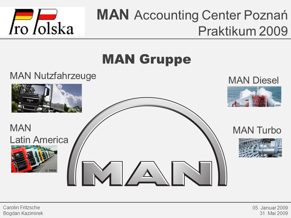 MAN Accounting Center Poznań Praktikum 2009 05. Januar 2009 31. Mai 2009 Carolin Fritzsche Bogdan Kazimirek MAN Gruppe MAN Nutzfahrzeuge MAN Latin Ame