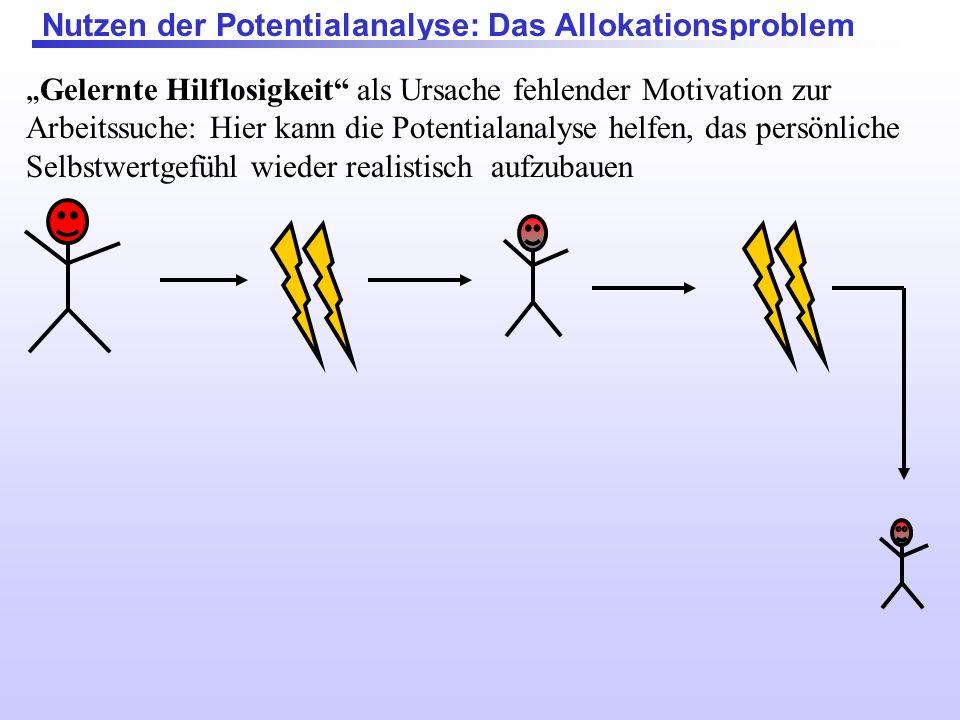 Nutzen der Potentialanalyse: Das Allokationsproblem Gelernte Hilflosigkeit als Ursache fehlender Motivation zur Arbeitssuche: Hier kann die Potentiala
