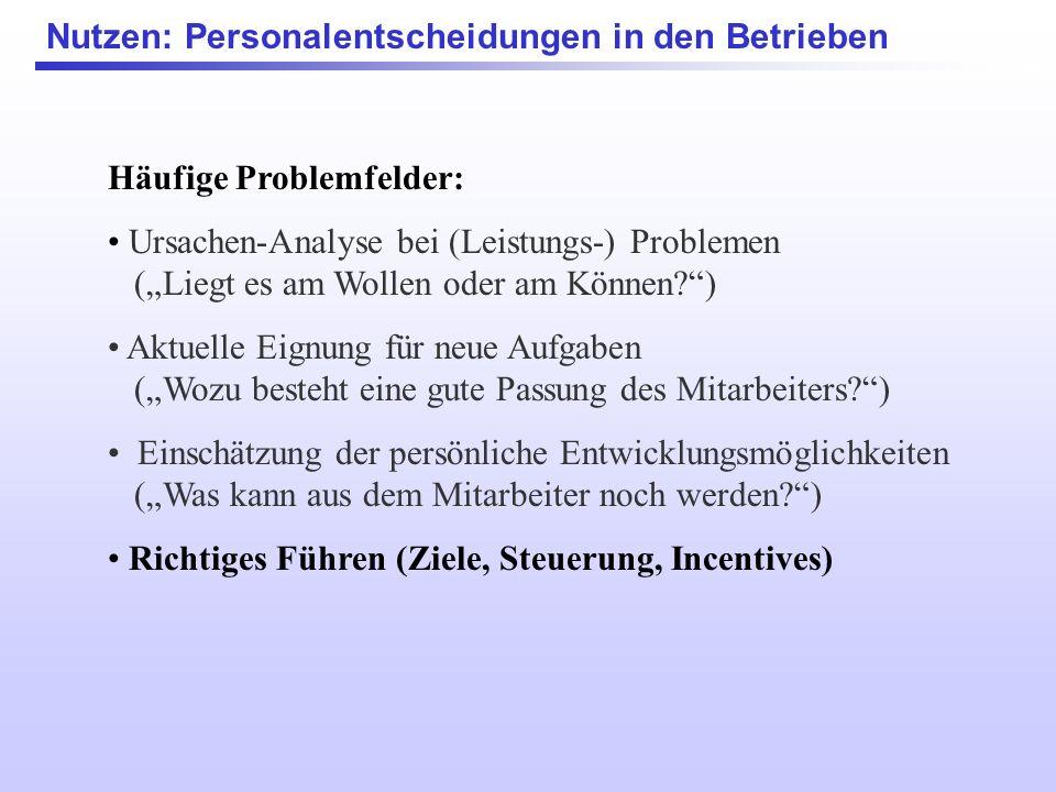 Häufige Problemfelder: Ursachen-Analyse bei (Leistungs-) Problemen (Liegt es am Wollen oder am Können?) Aktuelle Eignung für neue Aufgaben (Wozu beste