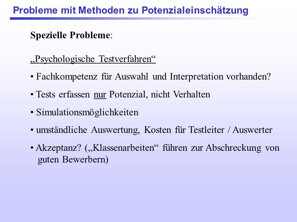 Spezielle Probleme: Situative Verfahren (Präsentationen, Rollenspiele, Gruppendiskussionen....) Potenzial oder Erfahrung / Übung? Anpassung an gewünsc