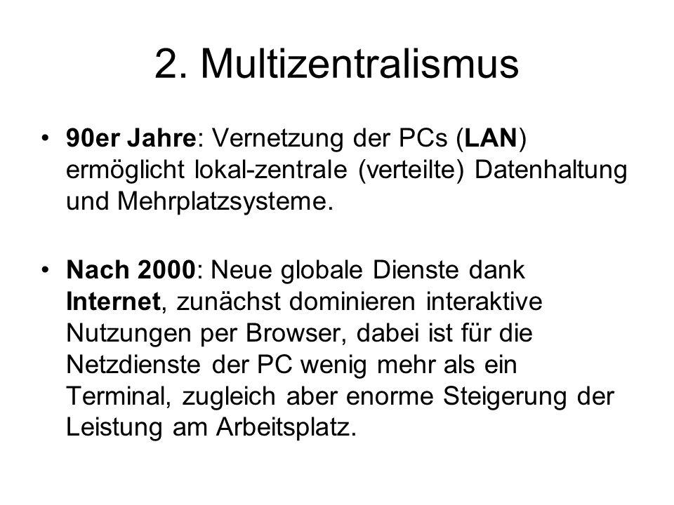 2. Multizentralismus 90er Jahre: Vernetzung der PCs (LAN) ermöglicht lokal-zentrale (verteilte) Datenhaltung und Mehrplatzsysteme. Nach 2000: Neue glo