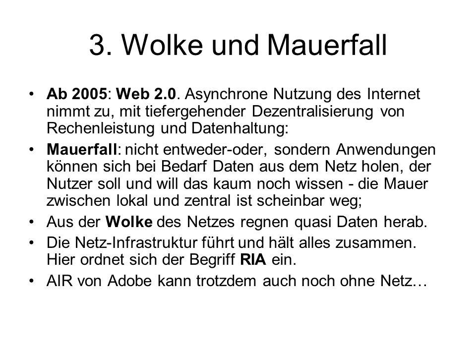 3. Wolke und Mauerfall Ab 2005: Web 2.0.