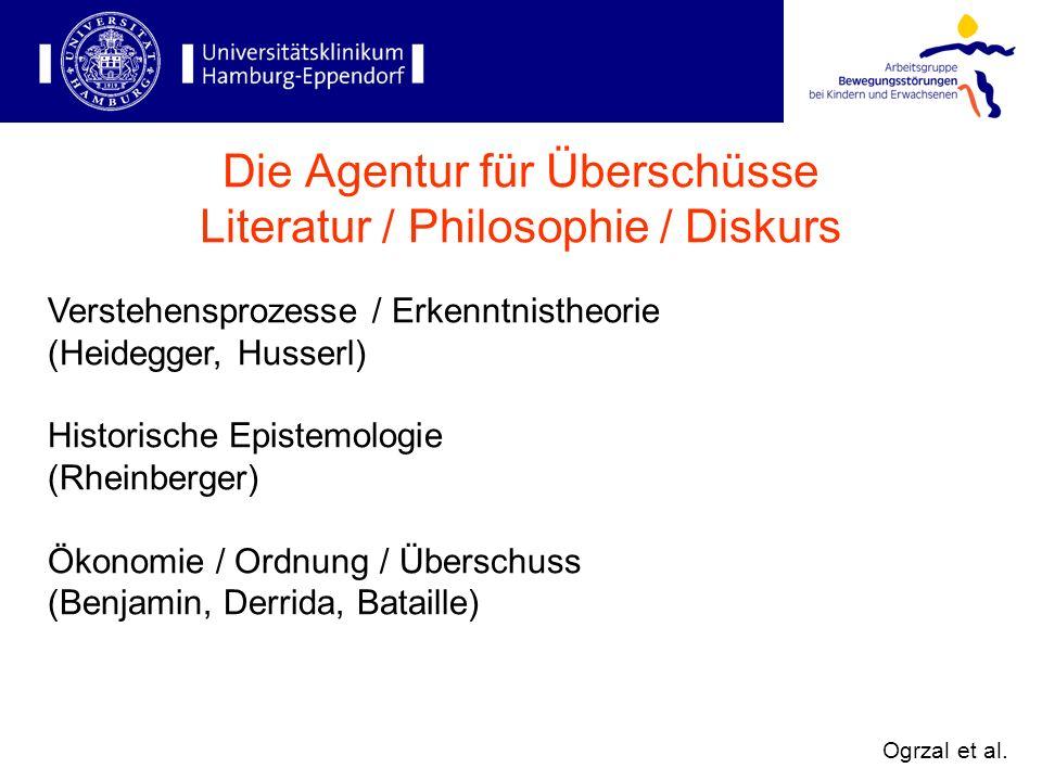 Verstehensprozesse / Erkenntnistheorie (Heidegger, Husserl) Historische Epistemologie (Rheinberger) Ökonomie / Ordnung / Überschuss (Benjamin, Derrida