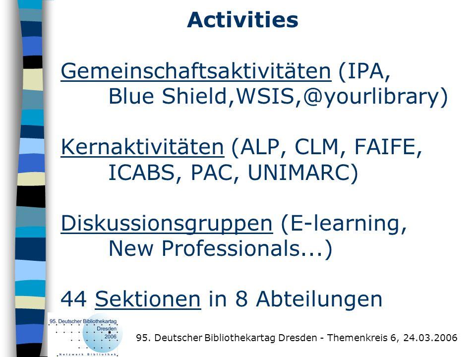 Activities Gemeinschaftsaktivitäten (IPA, Blue Shield,WSIS,@yourlibrary) Kernaktivitäten (ALP, CLM, FAIFE, ICABS, PAC, UNIMARC) Diskussionsgruppen (E-