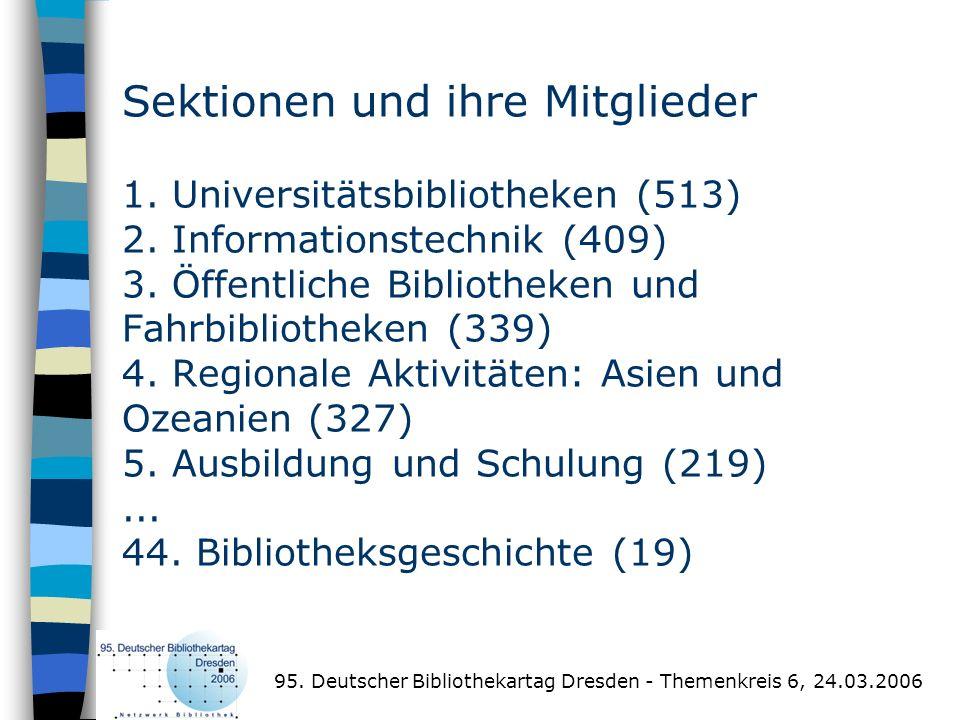Sektionen und ihre Mitglieder 1. Universitätsbibliotheken (513) 2. Informationstechnik (409) 3. Öffentliche Bibliotheken und Fahrbibliotheken (339) 4.