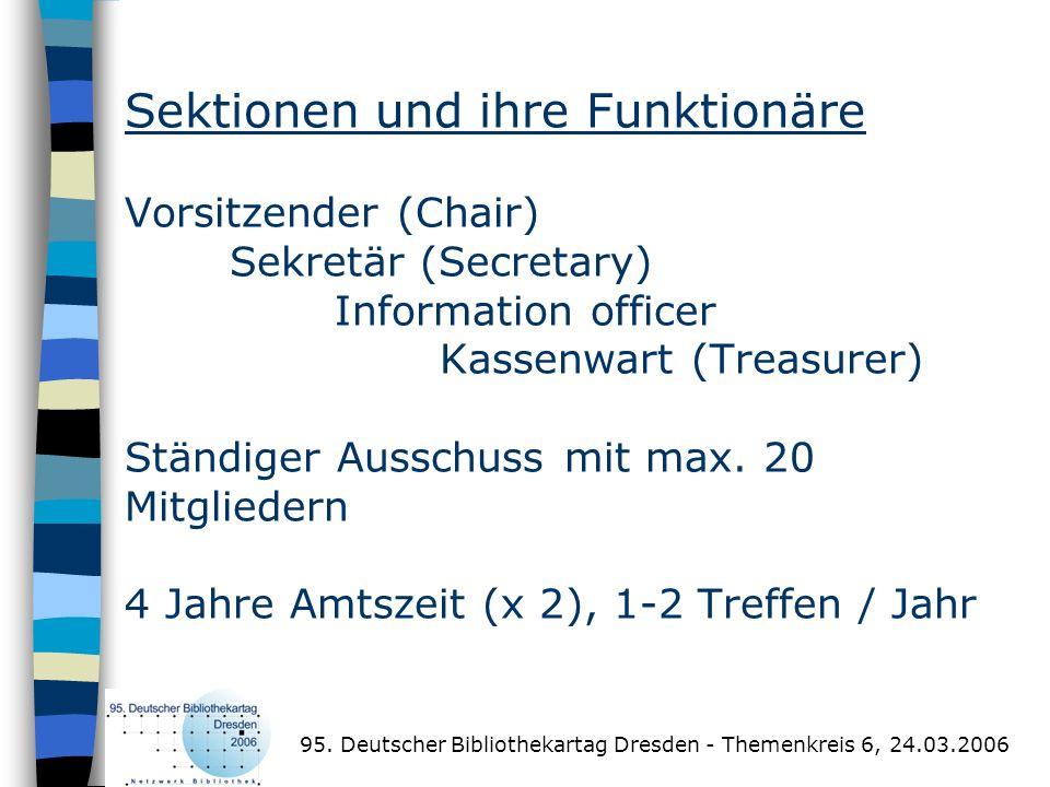 Sektionen und ihre Funktionäre Vorsitzender (Chair) Sekretär (Secretary) Information officer Kassenwart (Treasurer) Ständiger Ausschuss mit max. 20 Mi
