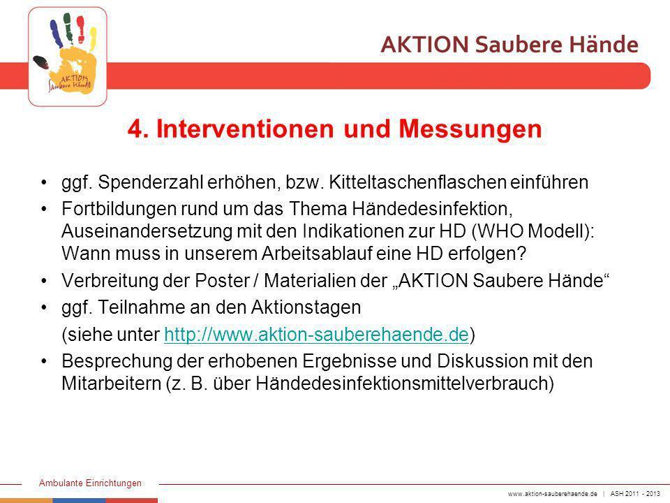 www.aktion-sauberehaende.de | ASH 2011 - 2013 Ambulante Einrichtungen ggf. Spenderzahl erhöhen, bzw. Kitteltaschenflaschen einführen Fortbildungen run