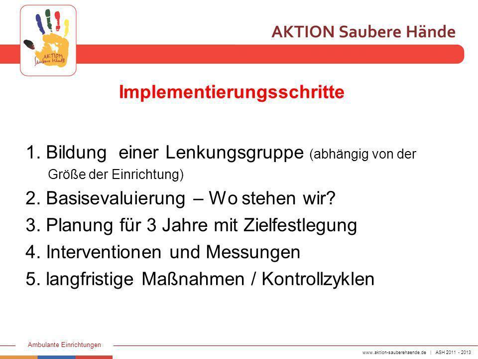 www.aktion-sauberehaende.de | ASH 2011 - 2013 Ambulante Einrichtungen 1.