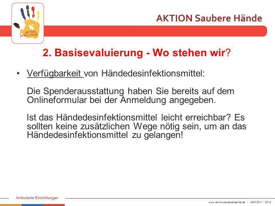 www.aktion-sauberehaende.de | ASH 2011 - 2013 Ambulante Einrichtungen 2. Basisevaluierung - Wo stehen wir? Verfügbarkeit von Händedesinfektionsmittel: