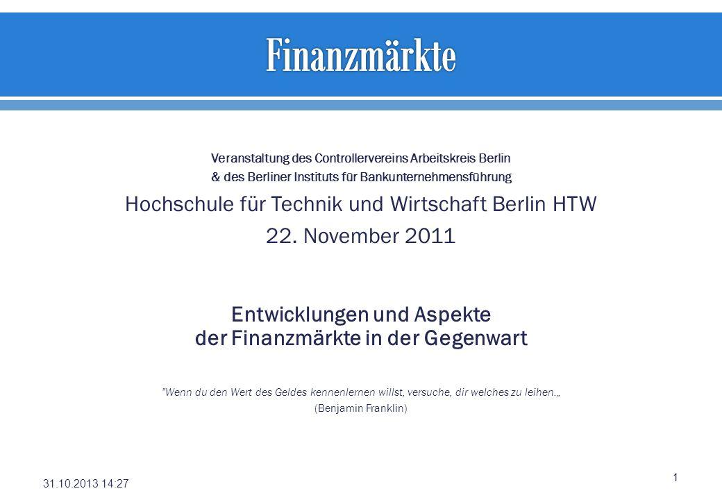 Veranstaltung des Controllervereins Arbeitskreis Berlin & des Berliner Instituts für Bankunternehmensführung Hochschule für Technik und Wirtschaft Ber