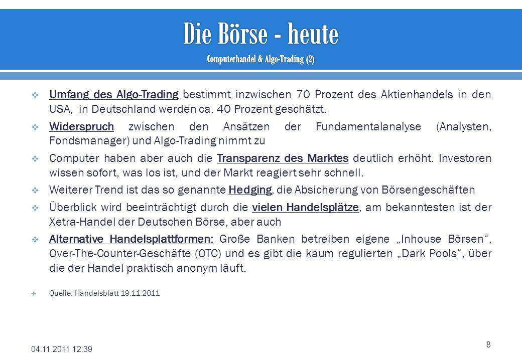 Umfang des Algo-Trading bestimmt inzwischen 70 Prozent des Aktienhandels in den USA, in Deutschland werden ca. 40 Prozent geschätzt. Widerspruch zwisc