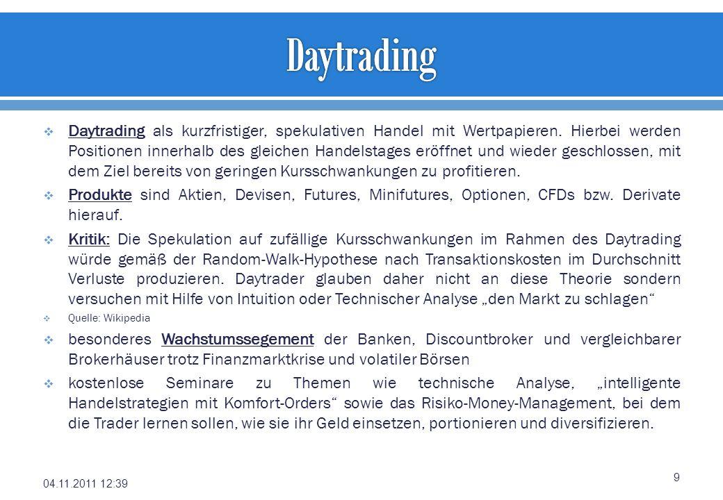 Daytrading als kurzfristiger, spekulativen Handel mit Wertpapieren. Hierbei werden Positionen innerhalb des gleichen Handelstages eröffnet und wieder