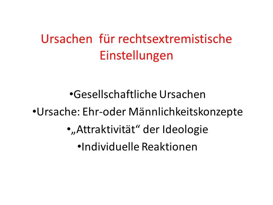 Ursachen für rechtsextremistische Einstellungen Gesellschaftliche Ursachen Ursache: Ehr-oder Männlichkeitskonzepte Attraktivität der Ideologie Individ