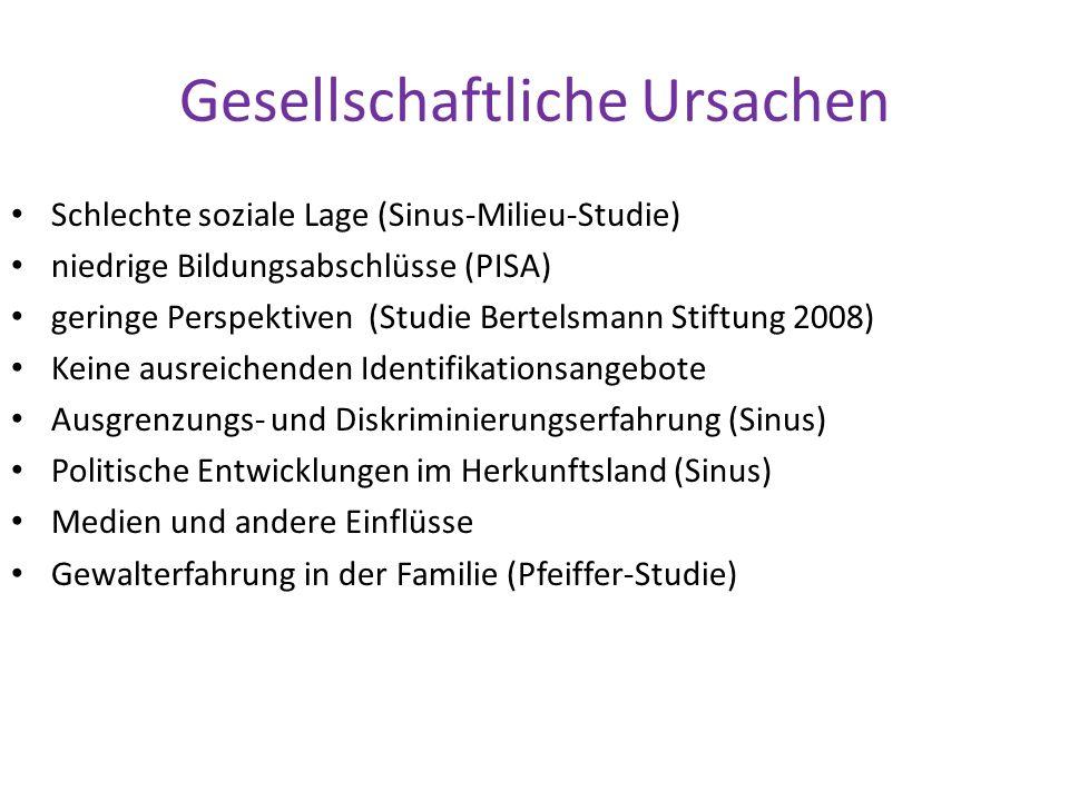 Gesellschaftliche Ursachen Schlechte soziale Lage (Sinus-Milieu-Studie) niedrige Bildungsabschlüsse (PISA) geringe Perspektiven (Studie Bertelsmann St