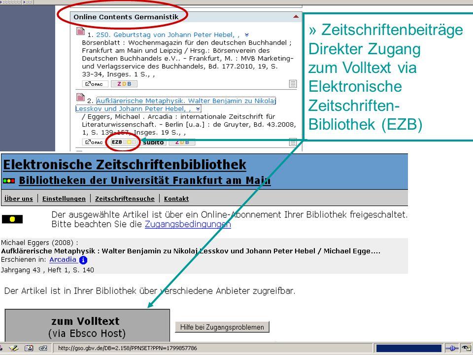 Germanistik im Netz 201030 » Zeitschriftenbeiträge Direkter Zugang zum Volltext via Elektronische Zeitschriften- Bibliothek (EZB)