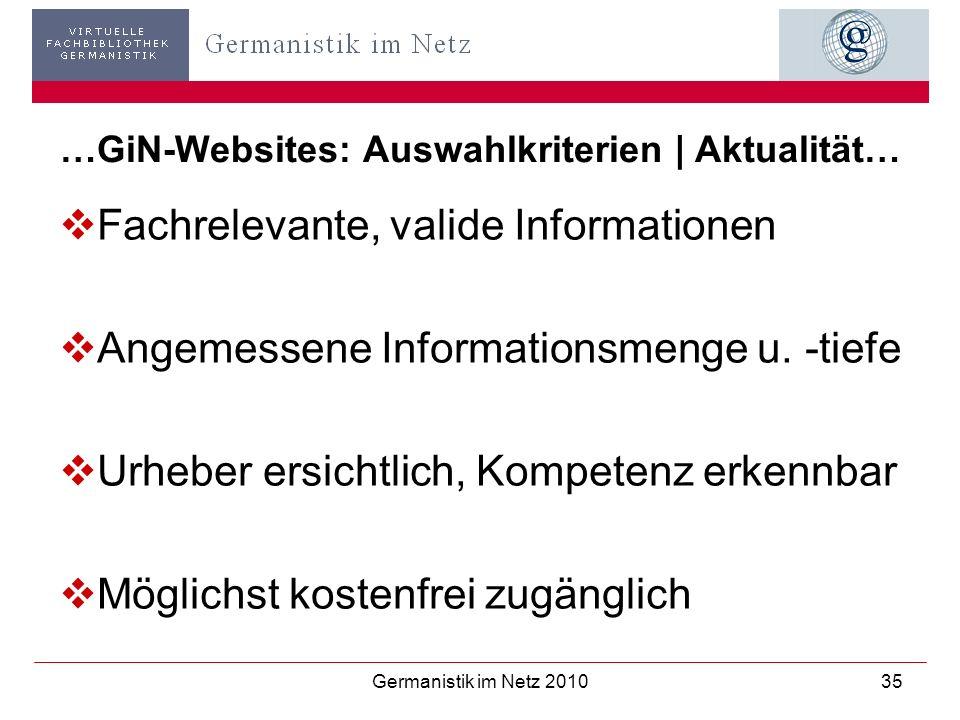 Germanistik im Netz 201035 …GiN-Websites: Auswahlkriterien | Aktualität… Fachrelevante, valide Informationen Angemessene Informationsmenge u. -tiefe U