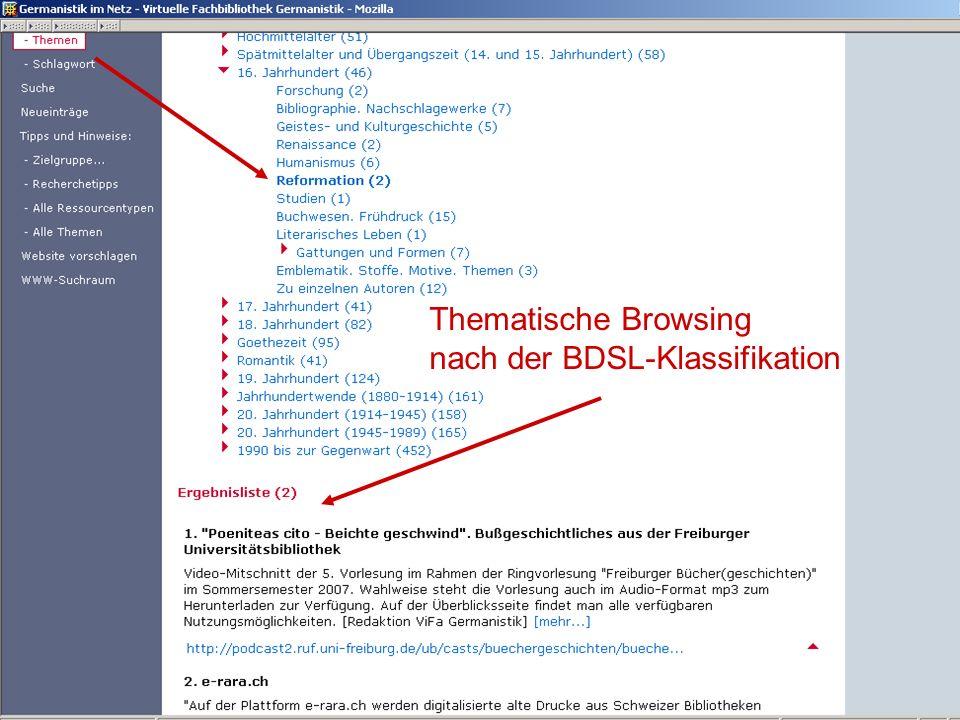 Germanistik im Netz 201039 Thematische Browsing nach der BDSL-Klassifikation