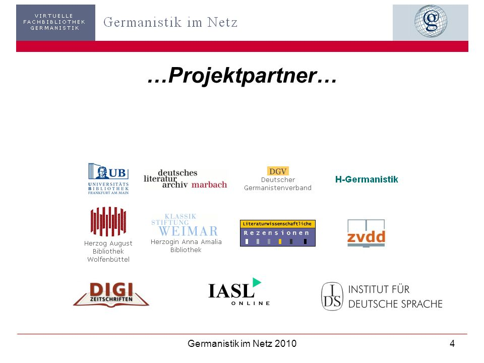 Germanistik im Netz 201015 Kooperationspartner DGV - GiN - Schnittstelle zwischen bibliothekarischer Fachinformation und Wissenschaft
