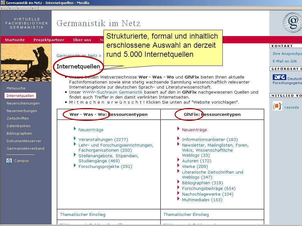 Germanistik im Netz 201019 Metasuche – das Herz von Germanistik im Netz Kataloge auswählen… Eingabe...