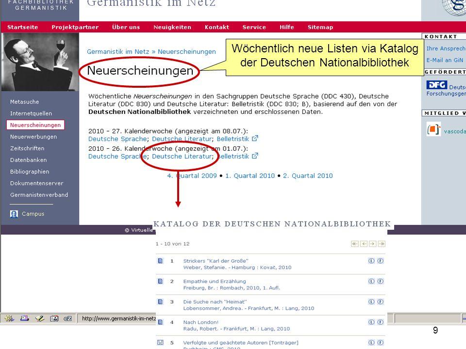 Germanistik im Netz 20109 Wöchentlich neue Listen via Katalog der Deutschen Nationalbibliothek
