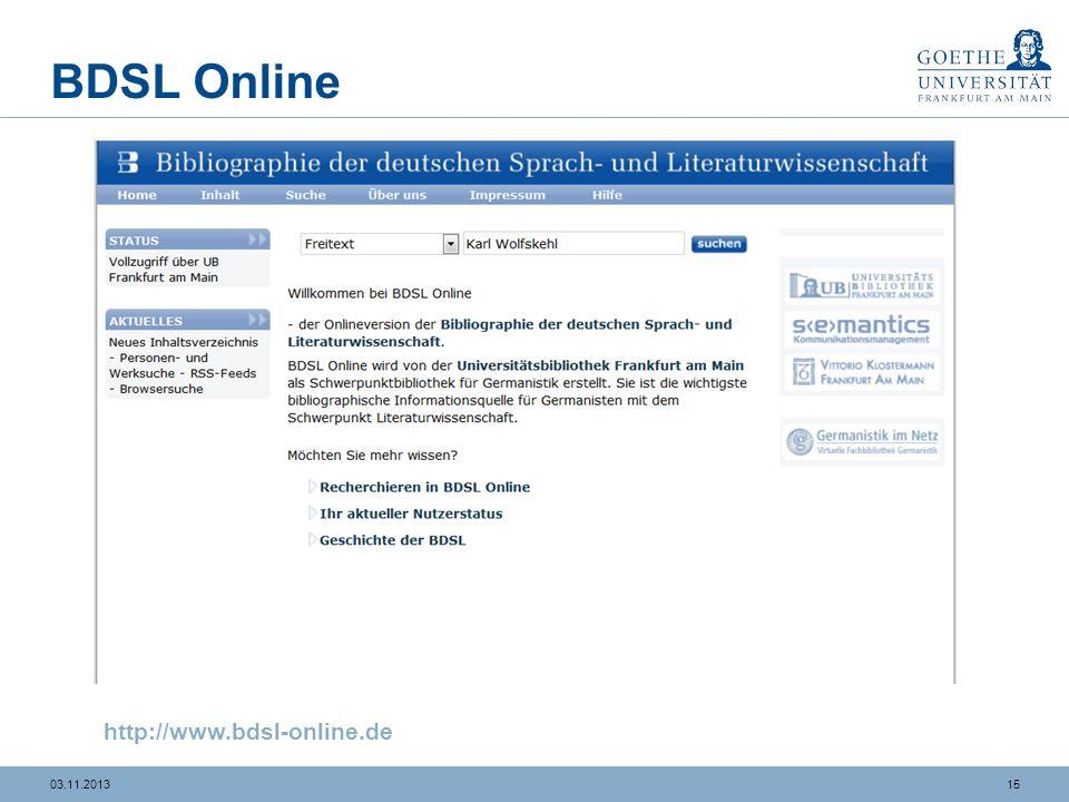 1503.11.2013 BDSL Online http://www.bdsl-online.de