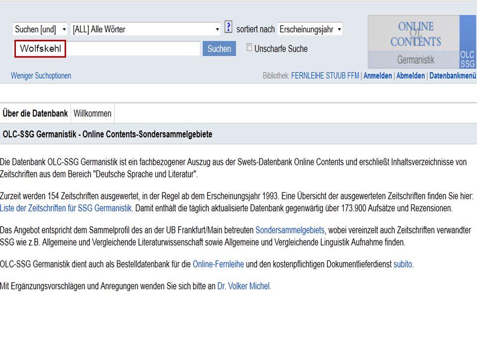 1603.11.2013 DFG-Sondersammelgebiet Germanistik, Deutsche Sprache und Literatur Informationsdienste Bibliographie der deutschen Sprach- u. Literaturwi