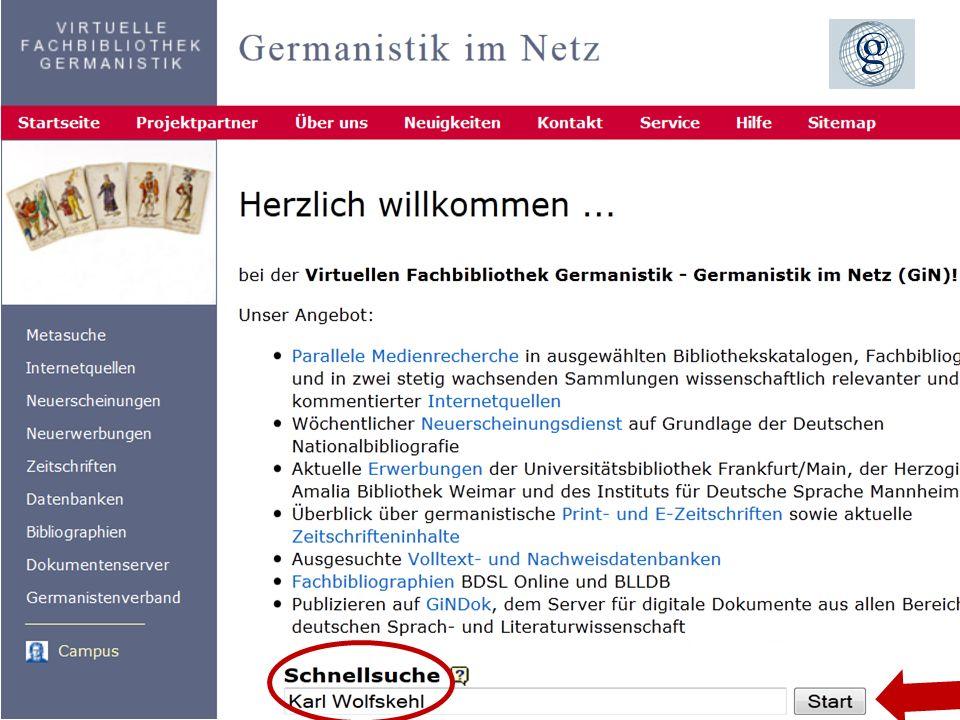 1903.11.2013 DFG-Sondersammelgebiet Germanistik, Deutsche Sprache und Literatur Informationsdienste Bibliographie der deutschen Sprach- u. Literaturwi