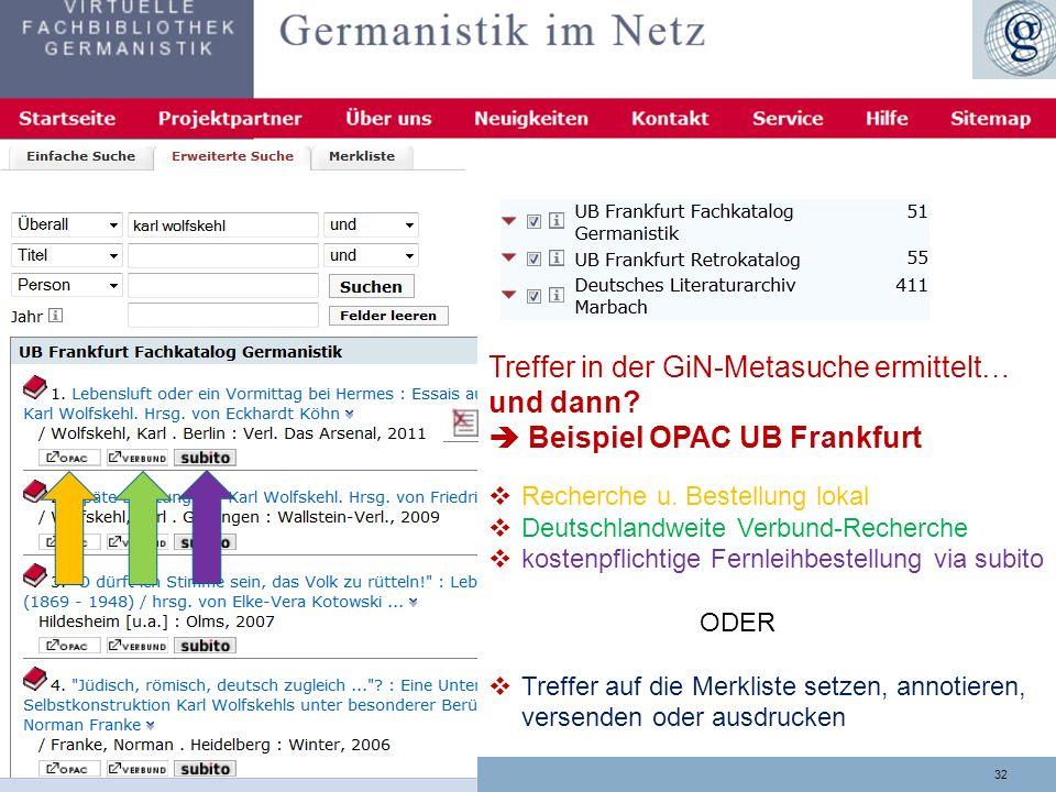 3203.11.2013 GiN – Metasuche: Ausgewählte Treffer Treffer in der GiN-Metasuche ermittelt… und dann.