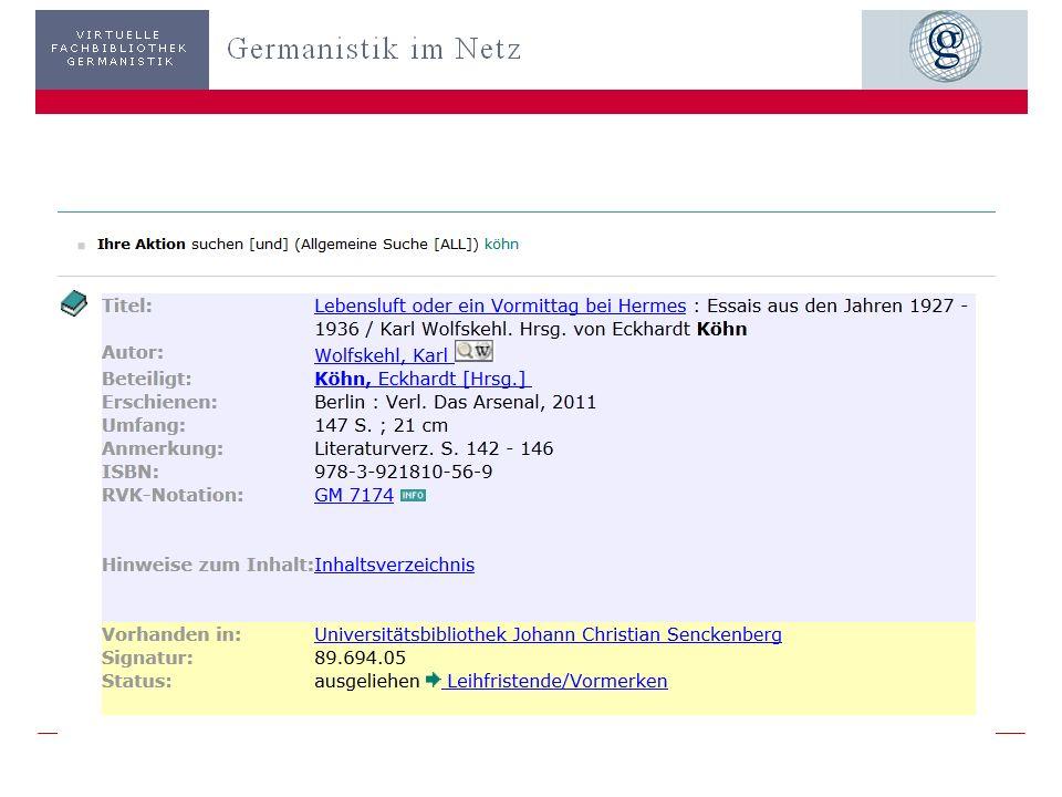 3203.11.2013 GiN – Metasuche: Ausgewählte Treffer Treffer in der GiN-Metasuche ermittelt… und dann? Beispiel OPAC UB Frankfurt Recherche u. Bestellung