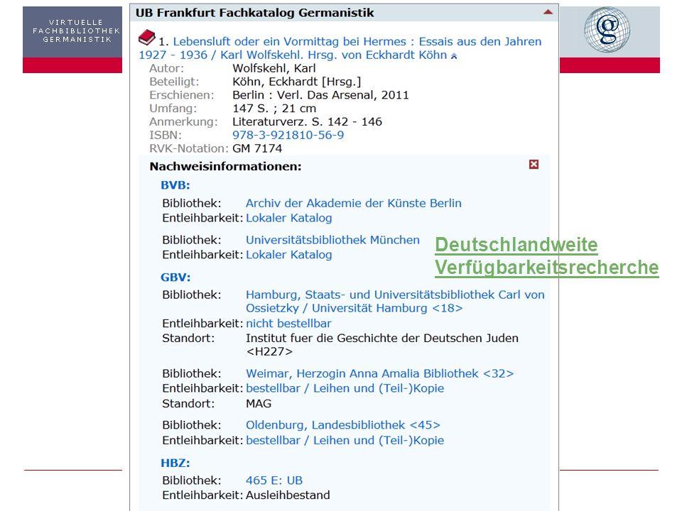 3403.11.2013 GiN – Metasuche: Ausgewählte Treffer Treffer in der GiN-Metasuche ermittelt… und dann? Beispiel OPAC UB Frankfurt Recherche u. Bestellung