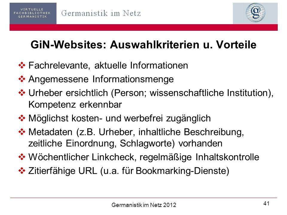 GiN-Websites: Auswahlkriterien u.