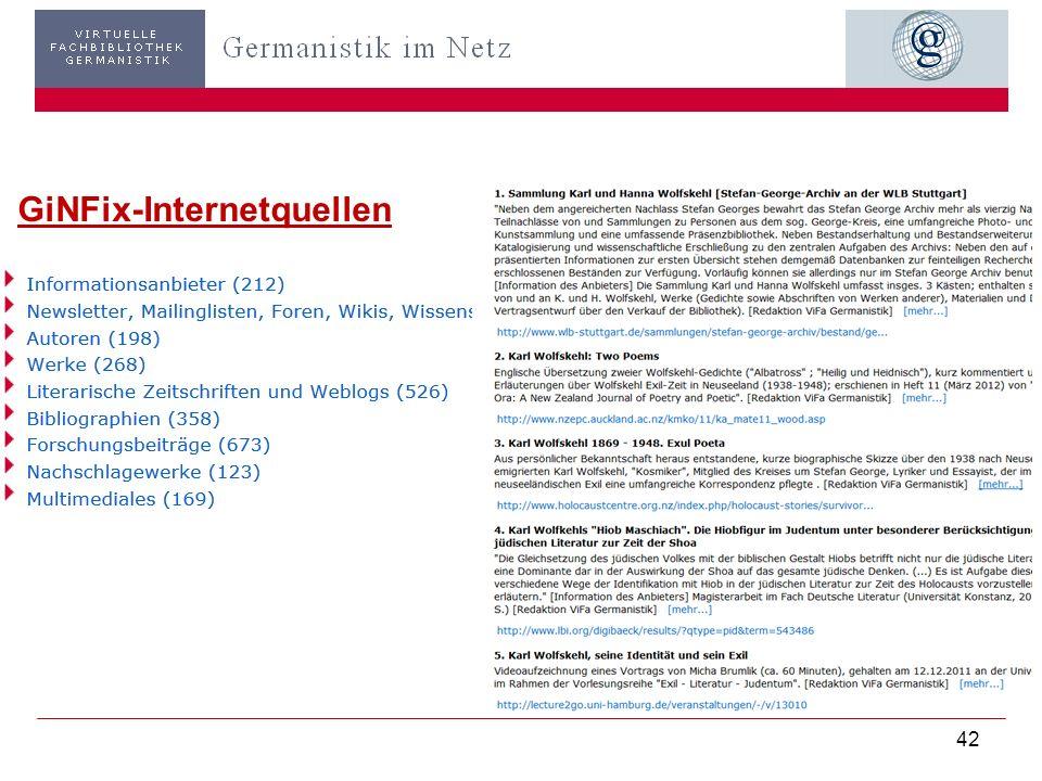 GiN-Websites: Auswahlkriterien u. Vorteile Fachrelevante, aktuelle Informationen Angemessene Informationsmenge Urheber ersichtlich (Person; wissenscha