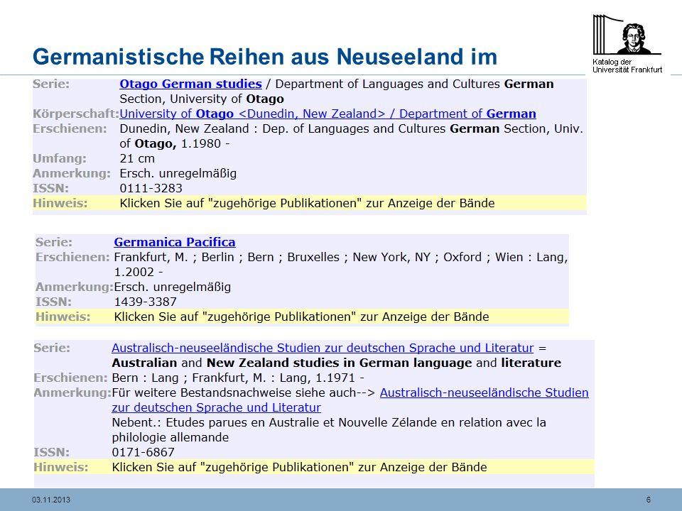 603.11.2013 Germanistische Reihen aus Neuseeland im