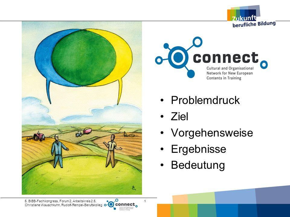 5. BiBB-Fachkongress, Forum 2, Arbeitskreis 2.5, Christiane Wauschkuhn, Rudolf-Rempel-Berufskolleg 1 Problemdruck Ziel Vorgehensweise Ergebnisse Bedeu