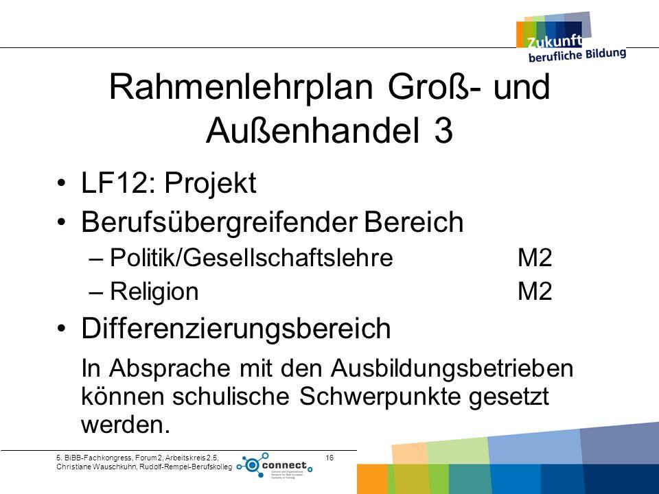 5. BiBB-Fachkongress, Forum 2, Arbeitskreis 2.5, Christiane Wauschkuhn, Rudolf-Rempel-Berufskolleg 16 Rahmenlehrplan Groß- und Außenhandel 3 LF12: Pro