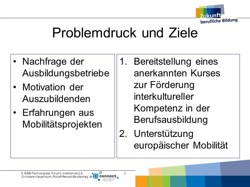 5. BiBB-Fachkongress, Forum 2, Arbeitskreis 2.5, Christiane Wauschkuhn, Rudolf-Rempel-Berufskolleg 2 Problemdruck und Ziele Nachfrage der Ausbildungsb