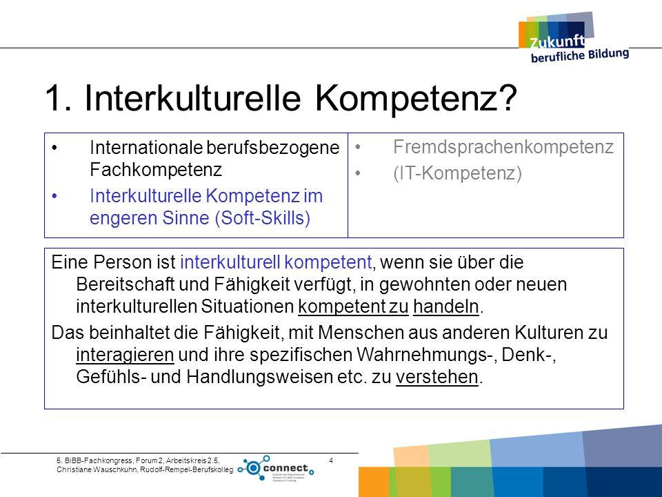 5. BiBB-Fachkongress, Forum 2, Arbeitskreis 2.5, Christiane Wauschkuhn, Rudolf-Rempel-Berufskolleg 4 1. Interkulturelle Kompetenz? Internationale beru