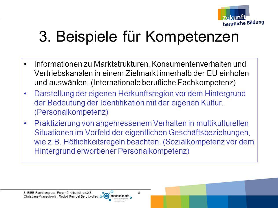 5. BiBB-Fachkongress, Forum 2, Arbeitskreis 2.5, Christiane Wauschkuhn, Rudolf-Rempel-Berufskolleg 6 3. Beispiele für Kompetenzen Informationen zu Mar